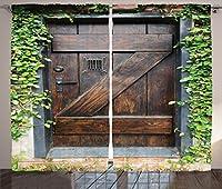 素朴な装飾カーテンby Ambesonne、小さなスペイン語スタイルダークStained木製ドアSecret Garden with gratedウィンドウアート画像、リビングルームベッドルーム装飾、2パネルセット、108W x 2.13インチ、ブラウングリーン
