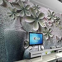 写真壁紙3Dエンボス花瓶花の背景装飾壁画リビングルームのソファテレビの背景家の装飾壁画 380cm x 240cm