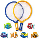 ArtCreativity Fishing Net Catch Game, Set of 2, Each Set with 1 Fishing Net and 6 Colorful Fish Toys, Pool Toys for Kids, Bat