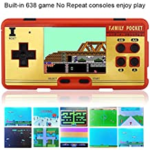 Retro Handheld Game Console, Family Pocket Video Game Console 3.0 Inch Screen 638 Classic Games ,Can Connect to TV Play-Big red