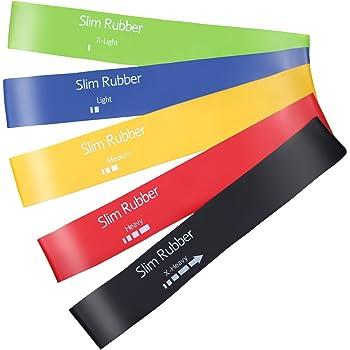 Slim Rubber エクササイズバンド ループバンド トレーニング チューブ 強度別5本セット 筋トレ ストレッチ