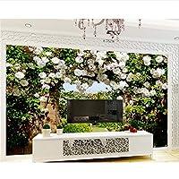 Ljjlm 3D壁紙カスタム写真不織壁画壁ステッカーローズガーデンローズ廊下の花の背景の壁3Dの壁紙-120X100CM