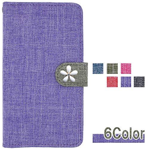 apple iPhone7 ケース iPhone7 カバー アイフォン7 ケース iPhone7 手帳型ケース iphone 7 スマホケース iphone 7 手帳型カバー SIMフリー スマホケース 全機種対応 ロゼ rosee ケース リネン風 白い花 可愛い 和風 大人 国内生産 Purple [iphone706mwqs06fw]