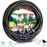 Outdoor Misting Cooling Irrigation System,26.2ft(8M) Misting Line + 9 Metal Mist Nozzles + a Brass Adapter(3/4),for Outdoor Patio Garden Waterpark