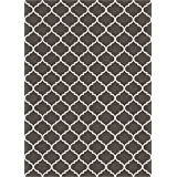 RUGGABLE Washable Indoor/Outdoor Stain Resistant Area Rug 2pc Set (Cover and Pad) Trellis Gate Rich Grey & White (152 x 213cm)