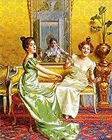 手描き-キャンバスの油絵 - Surprise lady Vittorio Reggianini 芸術 作品 洋画 ウォールアートデコレーション -サイズ10