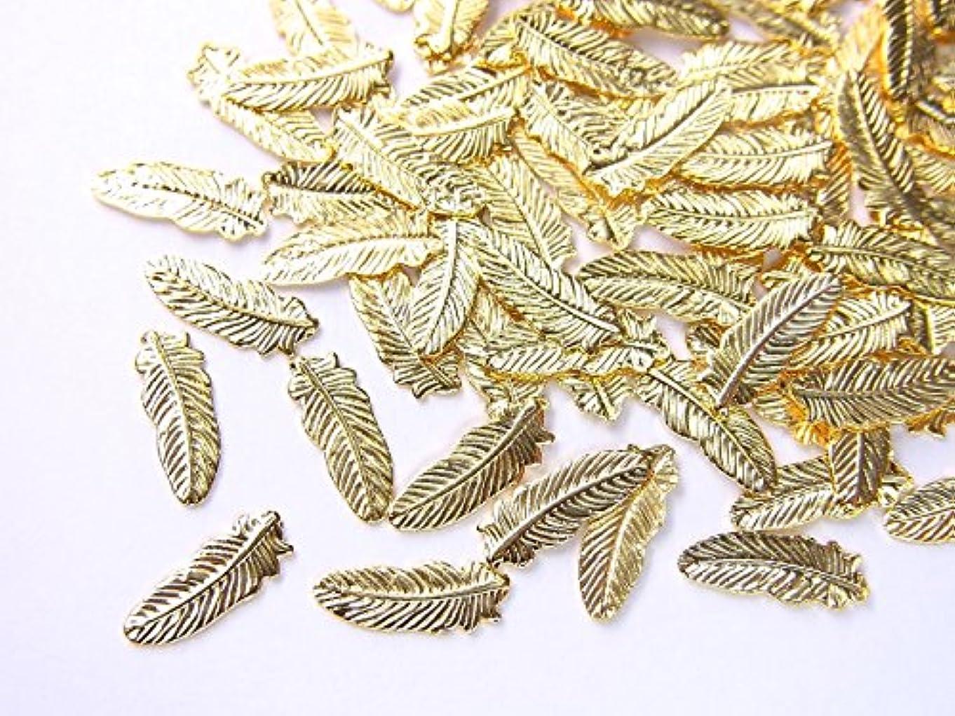 しみ進化判定【jewel】薄型ネイルパーツ フェザー大 約8.2mm×3mm 10個入りゴールド 手芸 素材 アートパーツ デコ素材