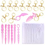 Silicone Keychain Mold,Keychain Resin Mold with 10 Keyrings for Girls/Ladies Window Breaker