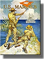 """米国海兵隊ヴィンテージ画像onストレッチキャンバス壁アート飾り額入りハングする準備。 14"""" x 18"""" E1936"""
