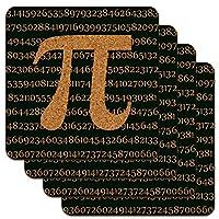Pi Math Geek Nerd 3.14 ロープロファイルノベルティコルクコースターセット