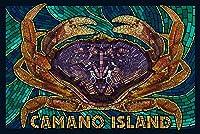 Camano島、ワシントン–モザイクDungeness Crab 16 x 24 Signed Art Print LANT-77409-709