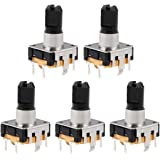 uxcell 360 Degree Rotary Encoder Code Switch Digital Potentiometer EC12 5 Pins 14.3mm D-Shaft Orange 5pcs