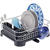mDesign Large Kitchen Countertop, Sink Dish Drying Rack with Removable Cutlery Tray and Drainboard with Adjustable Swivel Spo