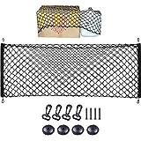 Storage Net for Car Trunk, Automotive Cargo Net for Truck Bed Streches, Elastic Nylon Mesh Universal Rear Car Organizer Net w