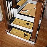 Four Piece 滑り止め 階段マット 15枚 セット 大きな55×21 暖かい マット カット可能 置くだけ吸着 ずれない 防音 可愛い おしゃれ 階段 ペット 犬 猫 黒猫柄