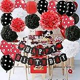 赤ミッキーマウス 誕生日パーティーデコレーション 白 赤 黒 バースデーパーティーデコレーション ミニーマウス パーティー用品 ティッシュペーパー ポンポン 花 ペーパーランタン Happy Birthdayデコレーションバンナー