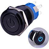 "Ulincos Latching Pushbutton Switch U19C1 1NO1NC SPDT ON/OFF Black Metal Shell with Blue LED Suitable for 19mm 3/4"" Mounting H"