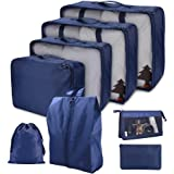 Cloudsky 7PCS Luggage Suitcase Organizer + 1PCS Free Cosmetic Pouch, Lightweight Waterproof Oxford Packing Cubes for Clothing