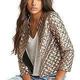 HaoDuoYi Women's Basic Sparkly Plaid Sequin Short Blazer Biker Jacket Outwear