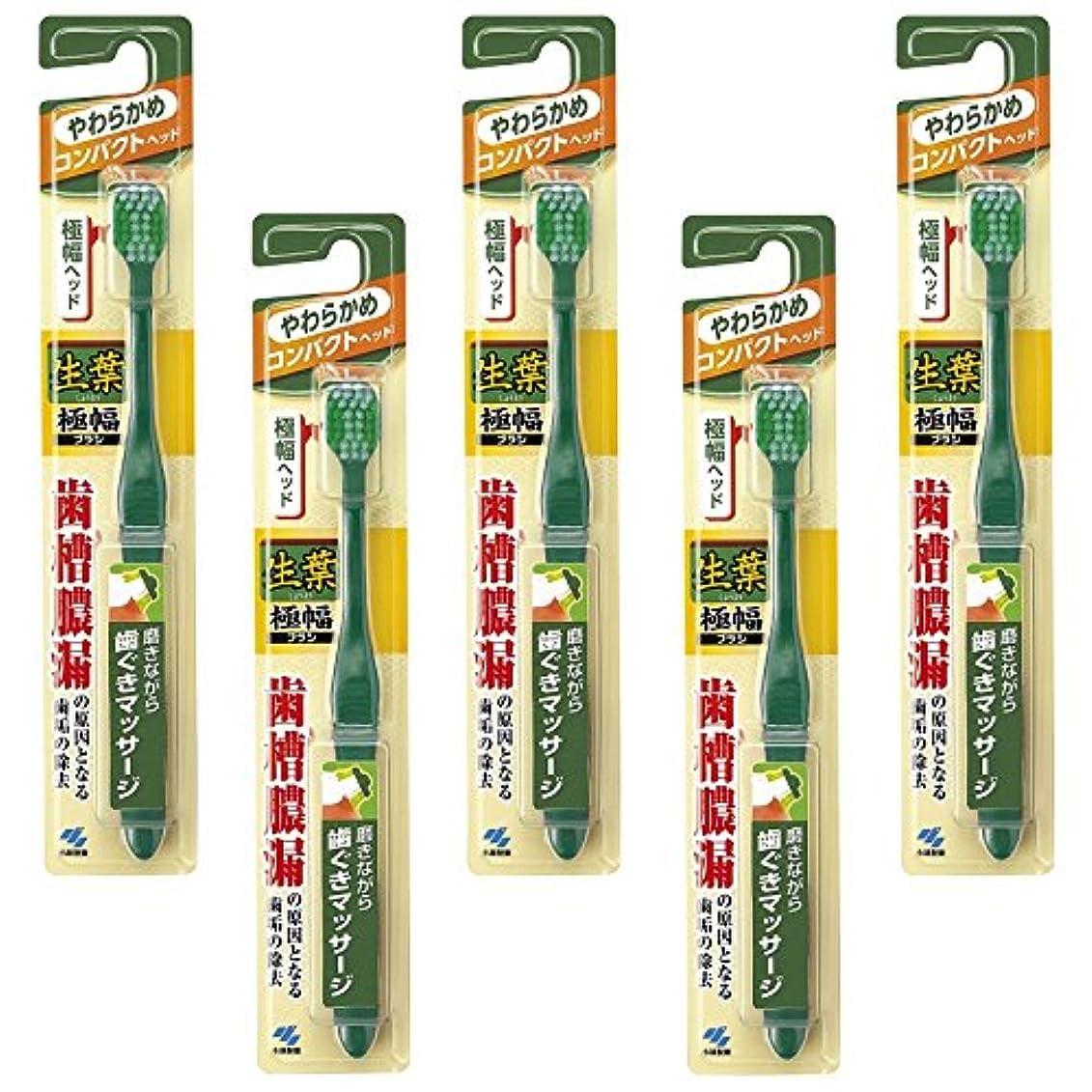 針労働安いです【まとめ買い】生葉(しょうよう)極幅ブラシ 歯ブラシ コンパクトヘッド やわらかめ×5個
