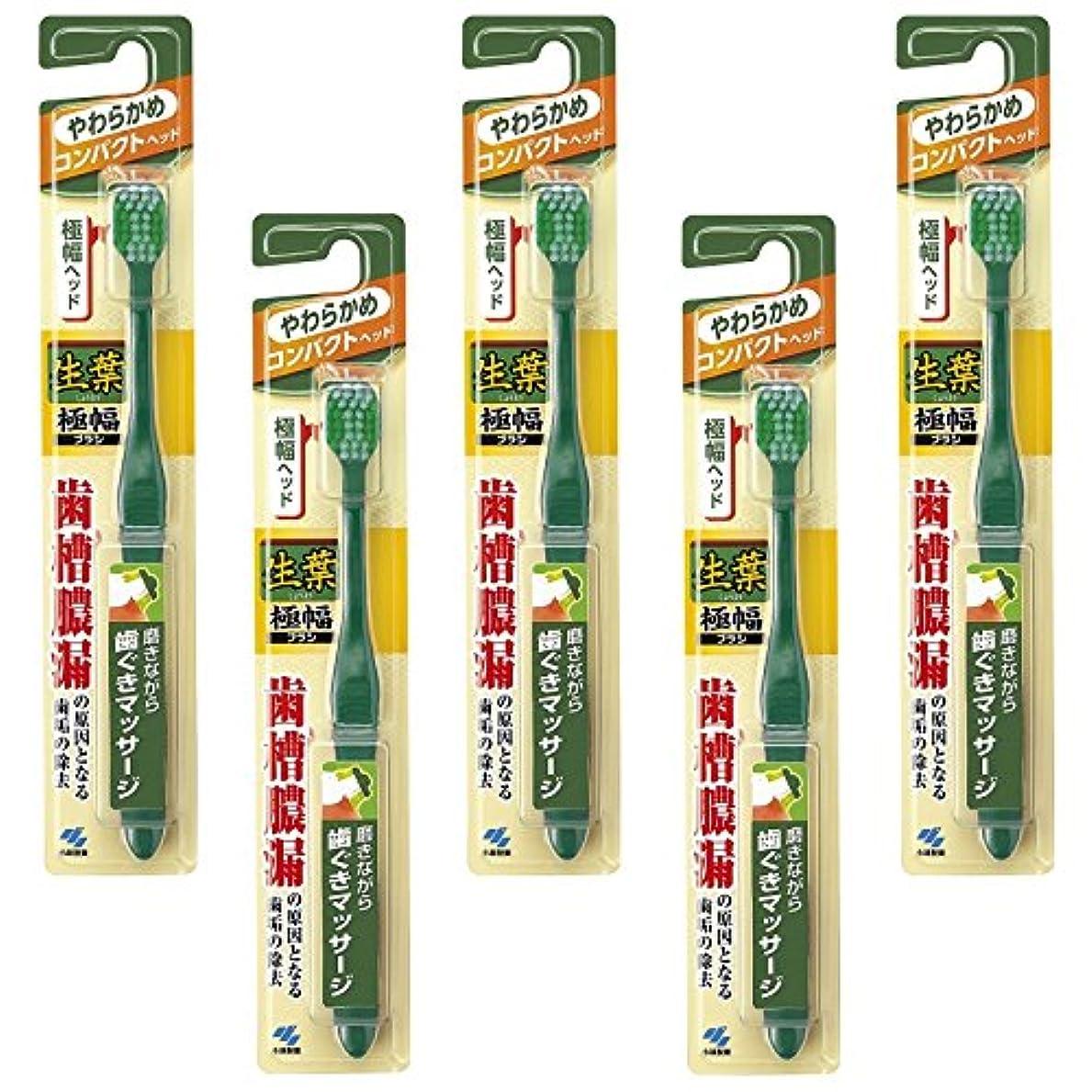 グリーンバック怒って悲劇的な【まとめ買い】生葉(しょうよう)極幅ブラシ 歯ブラシ コンパクトヘッド やわらかめ×5個
