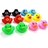 Novelty Place [Float & Squeak] Rubber Duck Ducky Baby Bath Toy for Kids Assorted Colors (12 Pcs)