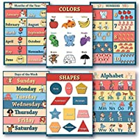 6 Educational poster pack Charts for classrooms early education for learning Alphabet Abc days of the week poster shapes poster counting months of the year poster learning colors edu (18x24) [並行輸入品]