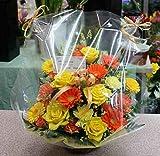 Amazon.co.jp季節の花 フラワーアレンジメントおまかせC(黄色オレンジ系)「誕生日」「お祝い」「お見舞い」「ギフト」