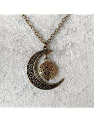Lunar Crescent Moon with Small Bronze-tone Locket Aromatherapy Necklace Essential Oil Diffuser Locket Pendant...
