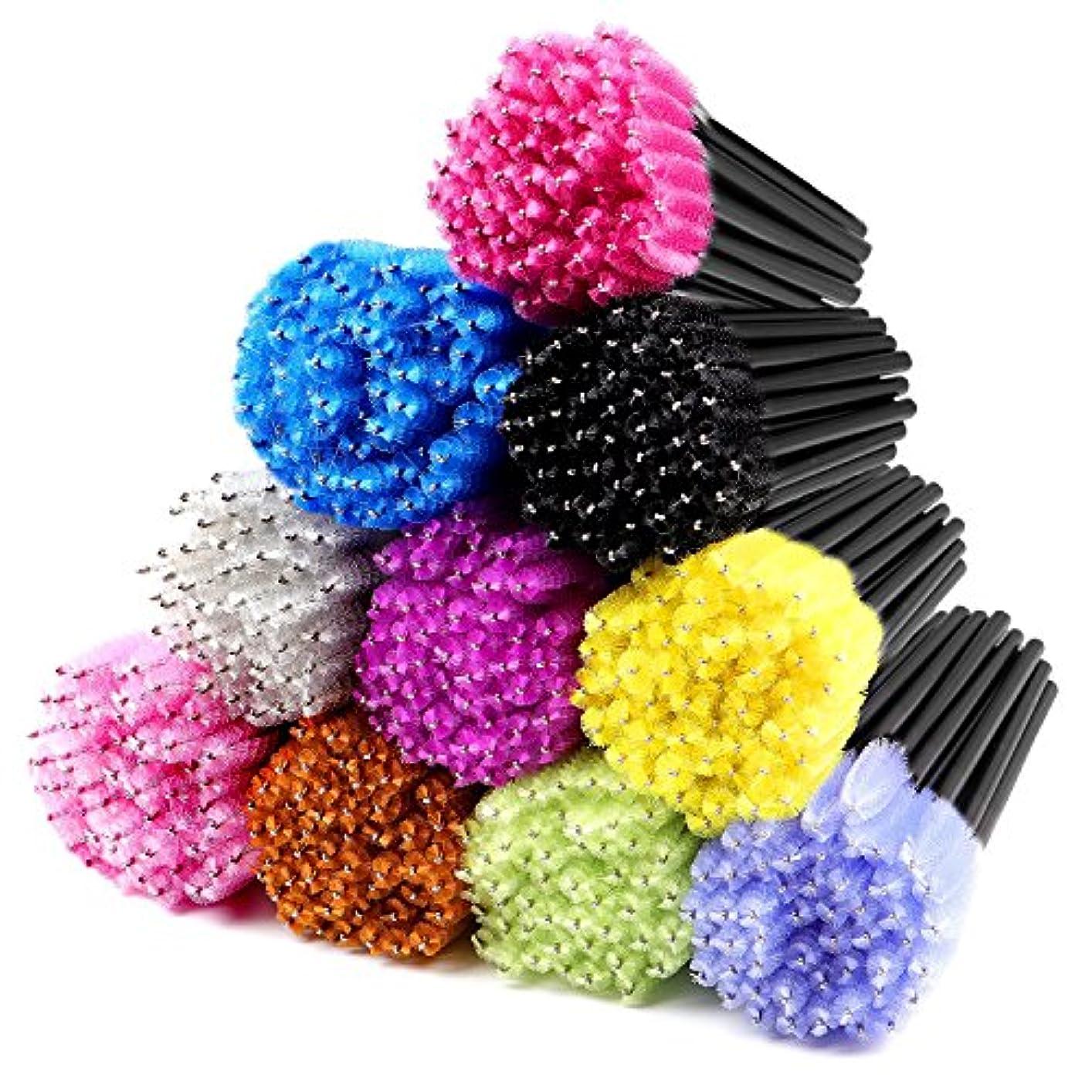 まつげ習字長いですパッケージが含まれる:500ピース多色使い捨てマスカラテスタワンドキットは、10の異なる色のまつげ眉毛色あたり50個ブラシ含みます。