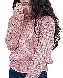 [リッチココ] RICHCOCO レディース トップス ニット タートルネック セーター ゆったり ざっくり ケーブル編み ラウンドネック クルーネック ミックス 防寒 ゆるかわ カジュアル ゆるかわ 秋冬 無地 全7色 フリーサイズ ピンク