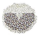 【ノーブランド品】 シックで かわいい ドット × 小花柄 フリル付き 扇風機カバー 2枚セット
