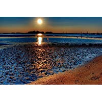 太陽が砂浜のビーチの上に輝く - #35322 - キャンバス印刷アートポスター 写真 部屋インテリア絵画 ポスター 50cmx33cm