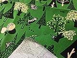布人倶楽部 綿100% オックス猫柄プリント「森でかくれんぼ」 108cm幅x1mカットクロス (グリーン)