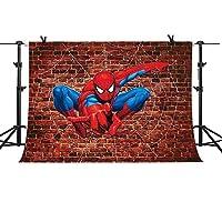 Mme写真バックドロップ10x 7ftレッドレンガ壁背景Man電源ヒーロースパイダーマン漫画背景子供の誕生日パーティー写真アップグレード素材シームレスなビニールフォトスタジオ小道具pme490