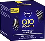 NIVEA Q10 Power Anti-Wrinkle & Firming Night Cream Moisturiser, Formulated with Q10 & Creatine for all Skin Types, 50ml