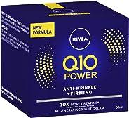 NIVEA Q10 Power Anti-Wrinkle & Firming Night Cream Moisturiser, Formulated with Q10 & Creatine for all Skin Types, 50ml
