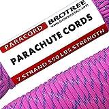 Brotree 4mm パラコード 30m テント ロープ 7芯 パラシュートコード 550ポンド耐荷重250kg ガイロープ キャンプ サバイバル アウトドア用 ピンク迷彩