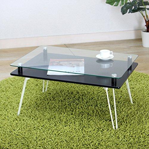 不二貿易 ディスプレイテーブル クラリス 強化ガラス 折りたたみ ブラック 87769