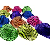 (12 Pack, Animal Print) - Novelty Place [Party Stars] Neon Colour Animal Zebra and Leopard Print Plastic Gangster Fedora Party Hats for Adult Teens and Kids (Pack of 12)