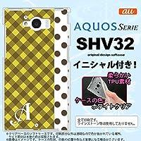 SHV32 スマホケース AQUOS SERIE カバー アクオス セリエ ソフトケース イニシャル チェック・ドット 黄 nk-shv32-tp1522ini X