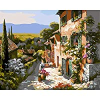 DIGIC DIY Oil Painting Paint by Numbers Kits Frameless DIYの油絵 for Kids Adults Beginners 16 x 20 inch - rural