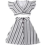 Muasaaluxi Toddler Baby Kid Girls Short Sleeve Striped T-Shirt Crop Top + A-line Skirt Dress Summer Outfits