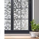 Rabbitgoo Privacy Window Film, 3D Decorative Window Cling, Static Cling Glass Film, Removable Winodw Tint Film, Door Window C