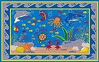Kid Carpet FE721-34A Fish In The Sea Nylon Area Rug 6' x 8'6 Multicolored [並行輸入品]