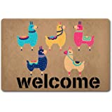 Red Forest Arts Entrance Door Mat Larry The Llama Doormat Welcome Doormat 40X60cm Non-Woven Fabric Top with a Anti-Slip Rubbe