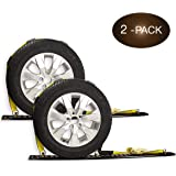 "2 Wheel Straps with E-Track Fittings and 3 Rubber Blocks | 11' x 2"" Auto Hauler Ratchet Strap with Rubber Cleats for Towing a"