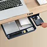Under Desk Drawer Storage Organizer-2 Pack (Large and Small) (Blue)