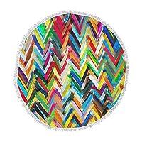 KESS InHouse Frederic Levy-Hadida Chevrons Rainbow Round Beach Towel Blanket [並行輸入品]