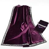 AVIL 厚手 高級ベルベット調 大判 タロットクロス シルバーの刺繍の縁取り 同柄のポーチ付き (紫)